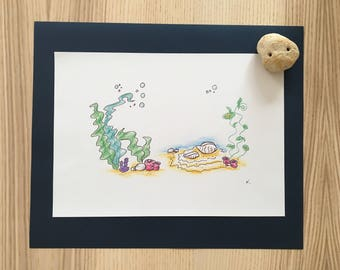 "Drawing ""under the sea"" - free shipping"