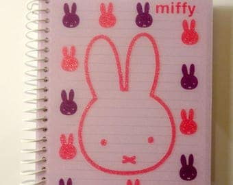 Small notebook purple and pink - cute Bunny - handwriting - workbook