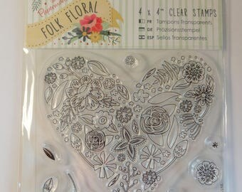 Clear heart and flowers (11 pieces) - embellishments - scrapbooking stamps