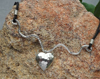 Sterling Silver Heart on a Wave Necklace