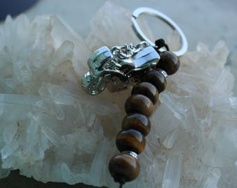 """motorcycle keychain and Pearl """"shield"""" Tiger eye"""