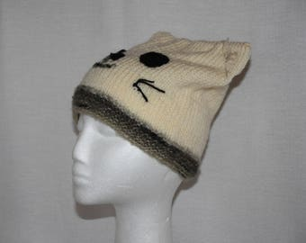 Knitted cat Hat - adult size