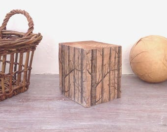 Recycled pallet foot, a lithograph of forest print