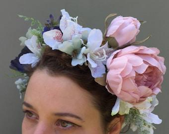 Flower Crown floral Pink Peony Bride Bridesmaid Headband