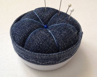 Blue and white color with storage upcycling Pincushion