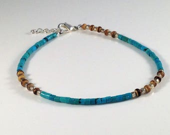 Turquoise, Coconut Shell Bead, and Silver Anklet