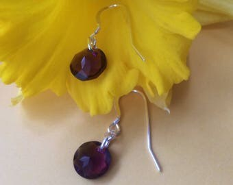 Swarovski amethyst crystal on Sterling silver ear wires