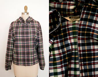 Vintage 1960's Elderado Plaid Zipper Hoodie - Multi. Color - Thin Cotton - Fall Layer - Long Sleeve - Women's Small Medium