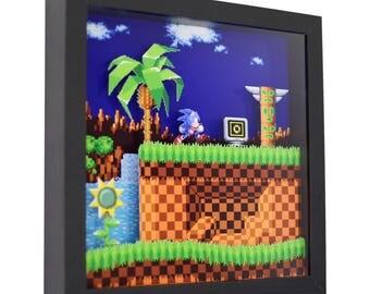 "Sonic The Hedgehog - 3D Shadow Box (9"" x 9"")"
