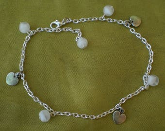 Anklet opaque white beads and hearts