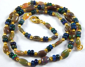 Beautiful !! 54.75 Ct Natural Black Ethiopian Opal 5-7x6-10 mm Rondelle,Oval Shape Beads 20 Inches 1 Strand Necklace Gold Plated Claps Beads