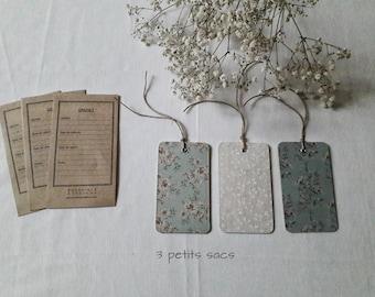 Kraft envelopes and cards floral paper labels 3 seeds, hemp cord. shabby