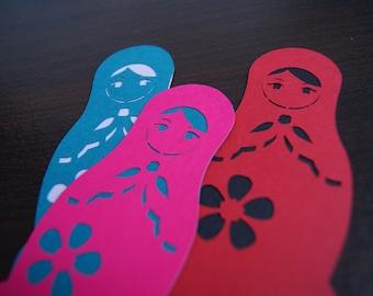 Bookmark Kirigami Russian Matryoshka Dolls