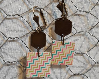 Bronze metal and wood dangle earrings