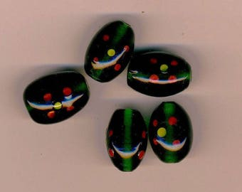 Five lampwork beads olive green and Red lampwork beads, green and red beads, jewelry supplies