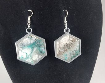 Hexagon 3d printed earrings with acrylic pour, sealed in resin