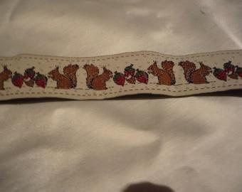 stripe pattern fabric squirrels silky width 2.5 cm