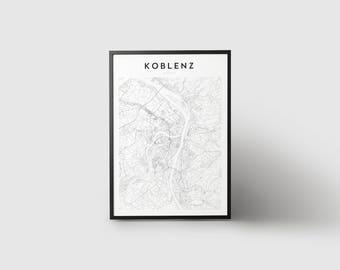 Koblenz Map Print