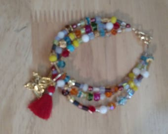 3 Strand Beaded Bracelet with Charms & Tassel