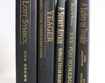 Black Vintage Decorative Books - Home Decor, Shelf Filler, Instant Library, Wedding Decor, Prop, Book Collection, Book Lover