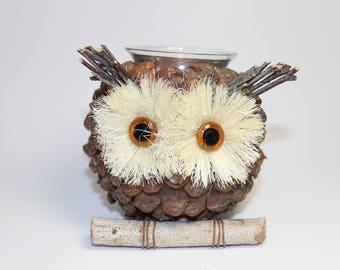 Owl candle holder / back to school decor /  holidays decor / fall decor