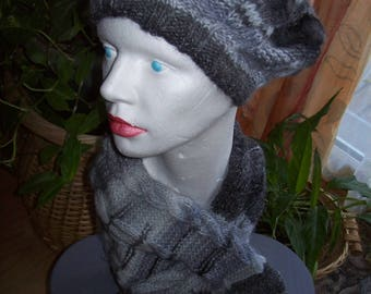 Set hat and scarf - ombre gray and black-