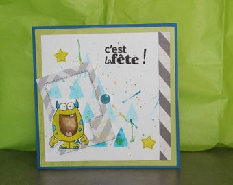card, invitation, birthday, party, little monster square format