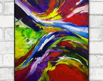 The fire bird, colorful and vibrant abstract painting