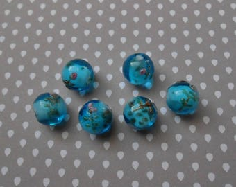 Set of 6 blue flower Lampwork Glass Beads