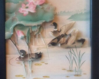 Picture 3 D flying ducks and lotus flowers