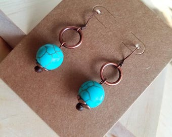 Dyed howlite stone earrings