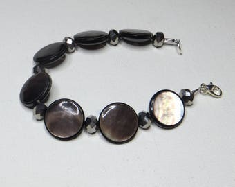 Bracelet Brown grey Pearl and faceted - #277 buttons