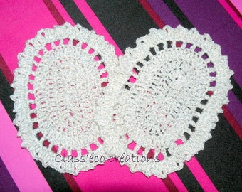 elbow pads crocheted with a sequined wool