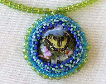 necklace made with embroidered beads