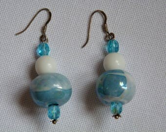 EARRINGS CERAMIC IRIDESCENT BLUE AND WHITE
