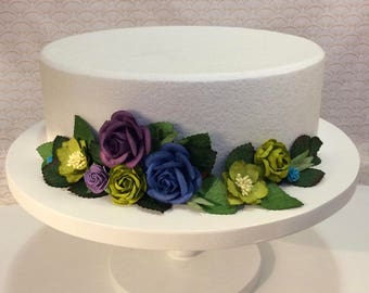 Peacock colors (purple, green, and blue) cake wrap