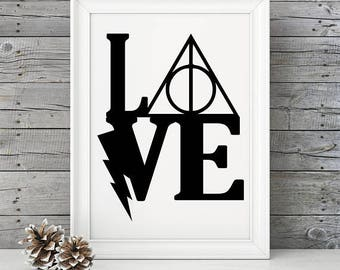 Love Harry Potter PRINT Harry Potter Fan Art, Couples Gift, Wedding gift, Engagement, Anniversary, Birthday - Deathly Hallows - Love - mark