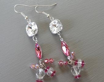 Pink Swarovski Crystal and crystal earrings