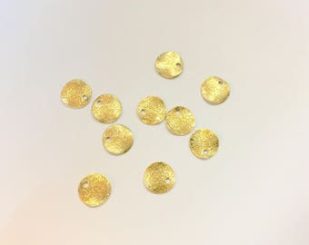 20 wavy sequins 8mm, gold glitter for creations of jewels