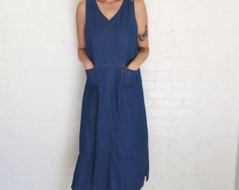 90s denim market dress with pockets