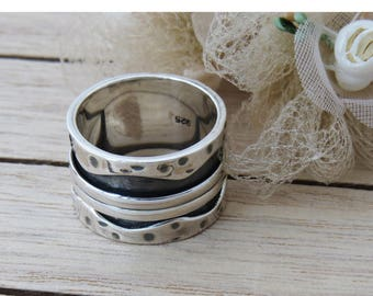 Sterling Silver Spinner Ring, Fidget Ring, Worry Ring, Spinner Ring for Women, Bridal Ring, Wedding Ring, Silver Double Twizzle Band Ring