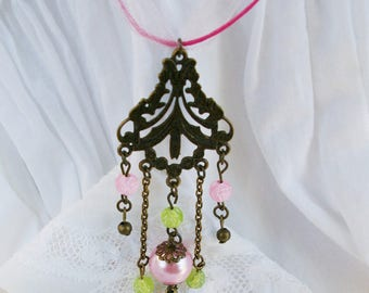 Necklace Saltire bronze and pink style vintage/retro