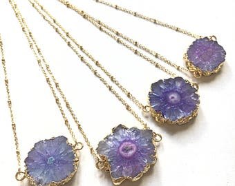 Purple solar quartz necklace-Purple solar-quartz necklace-KatShe