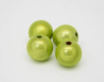 4 x 14mm (l1039) lime green round magic Pearl