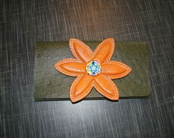 Flower and Green Khaki leather portfolio clutch orange embossed