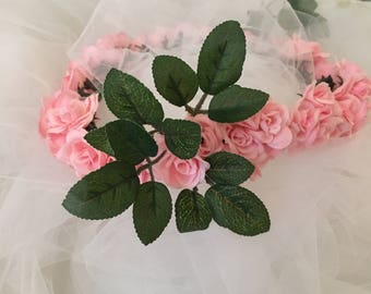 Pink Rose Full Flower Crown