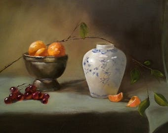 Original oil painting of Delft Vase, White Vase with  oranges, Abstract Realism