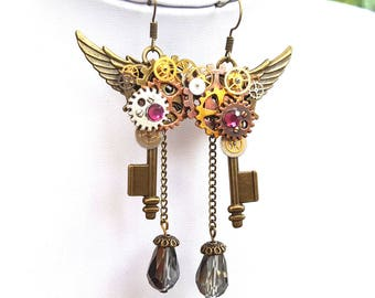 Steampunk Key Earrings - Angel Wings and Keys