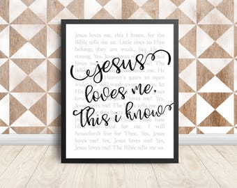 Jesus Loves Me Print,  Printable Wall Decor, Digital Print