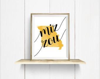 "Missouri ""Mizzou"" Gold, Black, & White Watercolor Art Print, Wall Decor"